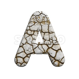 cracked letter A - Capital 3d character Stock Photo