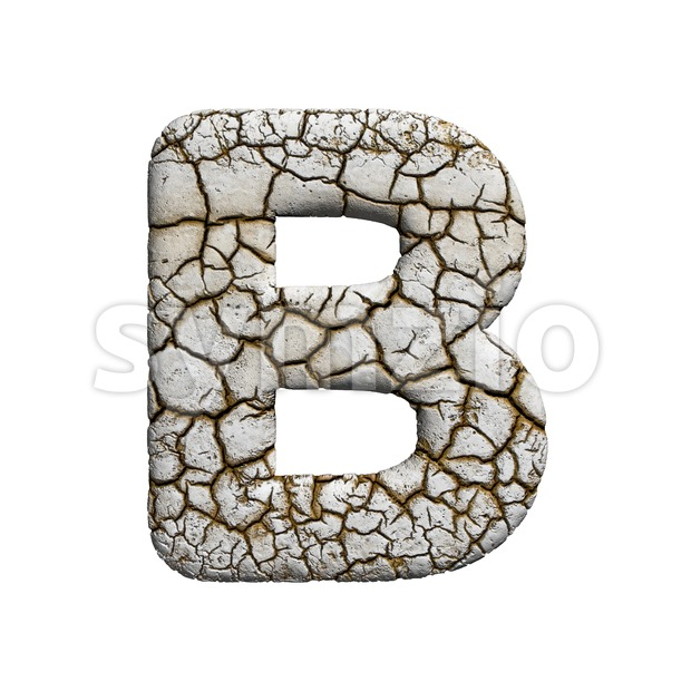 Capital arid ground letter B - Upper-case 3d font Stock Photo