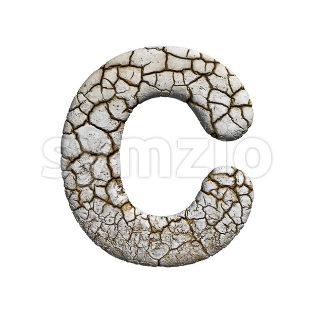 3d cracked font C - Capital 3d letter Stock Photo