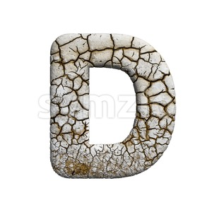 crackeled font D - Capital 3d character Stock Photo