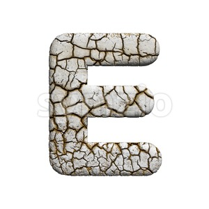 3d Capital character E covered in crackeled texture Stock Photo