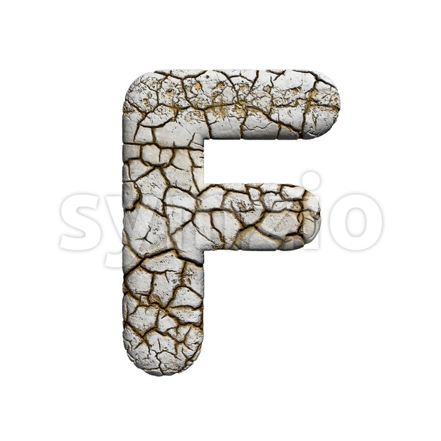 cracked letter F - Upper-case 3d font Stock Photo