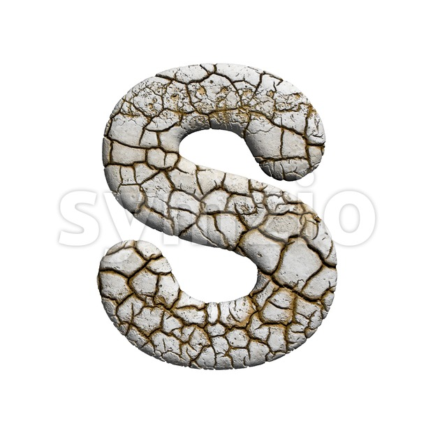 3d Uppercase font S covered in cracked texture Stock Photo