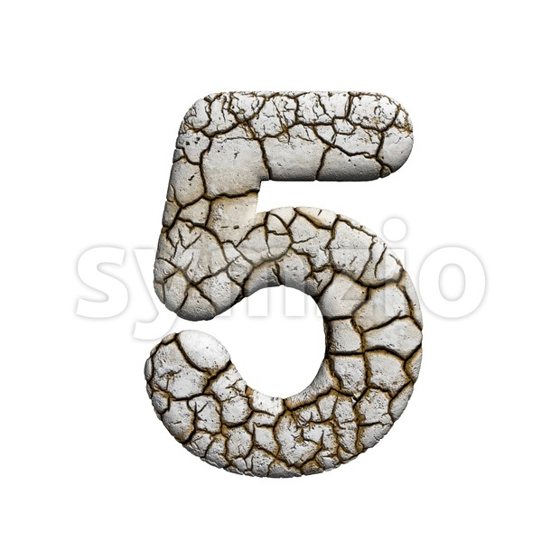 cracked number 5 - 3d digit Stock Photo