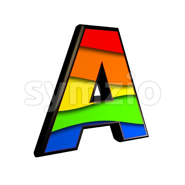 rainbow letter A - Capital 3d character Stock Photo