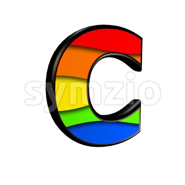 3d rainbow font C - Capital 3d letter Stock Photo
