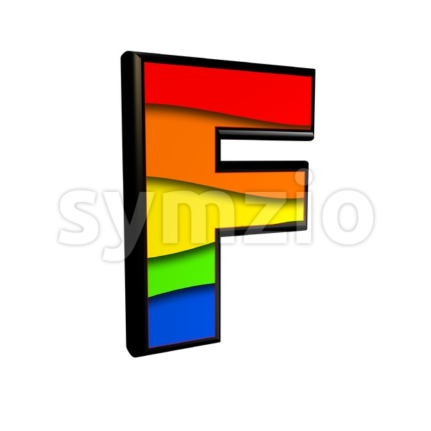 rainbow letter F - Upper-case 3d font Stock Photo