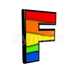 rainbow letter F - Upper-case 3d font Stock Photo