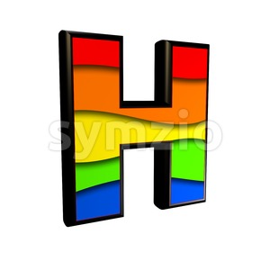 rainbow 3d letter H - Upper-case 3d character Stock Photo