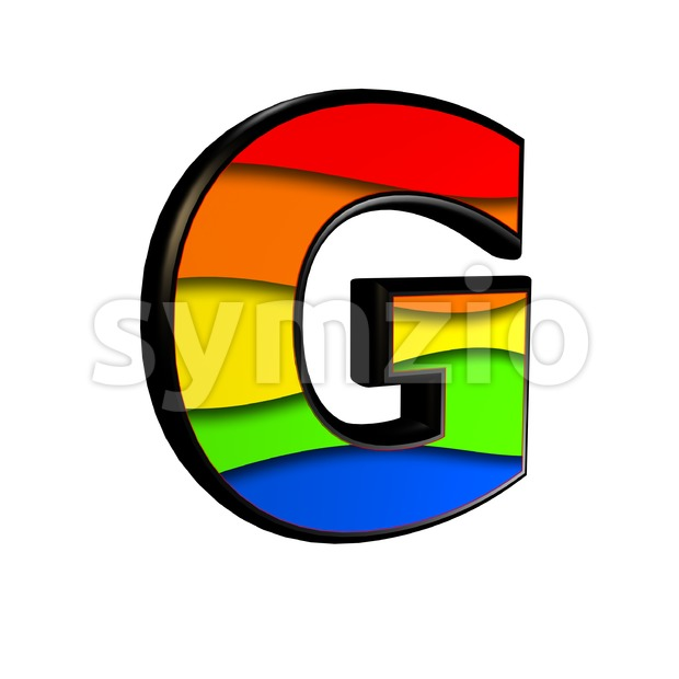 Upper-case rainbow character G - Capital 3d font Stock Photo