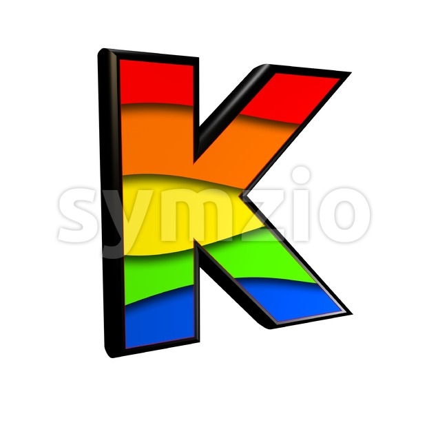 Uppercase rainbow letter K - Capital 3d font Stock Photo
