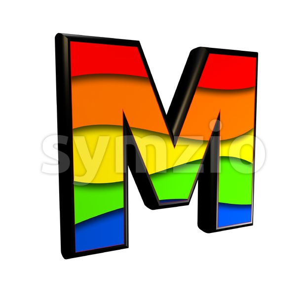 3d Capital character M covered in multicolored texture Stock Photo