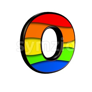 3d Upper-case letter O covered in rainbow texture Stock Photo