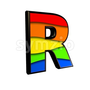 multicolored letter R - Uppercase 3d font Stock Photo