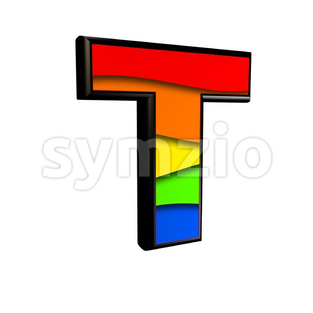 colorful character T - Uppercase 3d letter Stock Photo