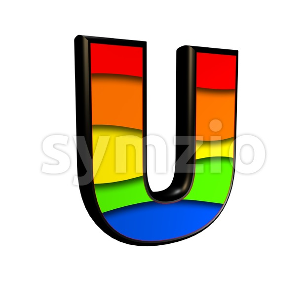 rainbow 3d letter U - Capital 3d font Stock Photo