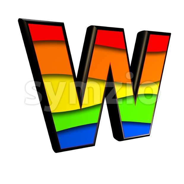 colorful font W - Capital 3d letter Stock Photo