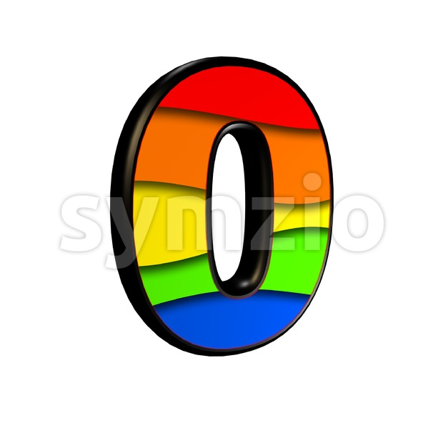 Rainbow number 0 - 3d digit Stock Photo