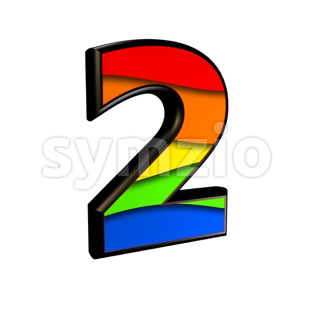 Rainbow digit 2 - 3d number Stock Photo