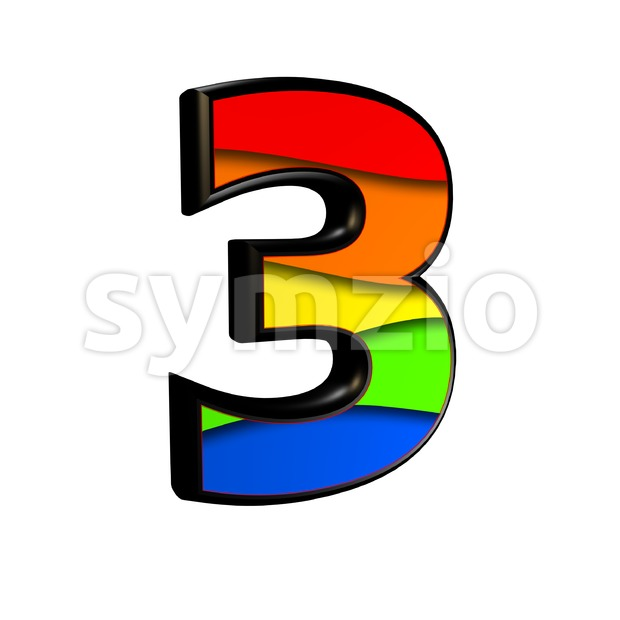 Rainbow number 3 - 3d digit Stock Photo