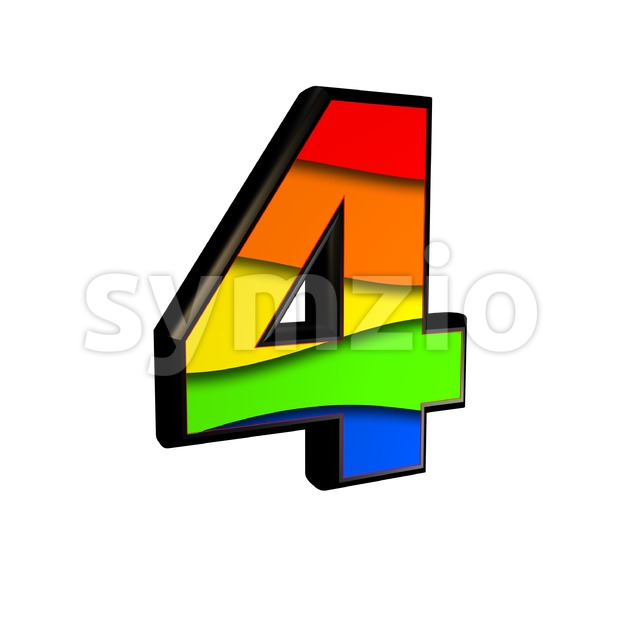 Rainbow digit 4 - 3d number Stock Photo