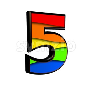 Rainbow number 5 - 3d digit Stock Photo