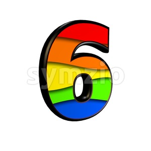 Rainbow digit 6 - 3d number Stock Photo