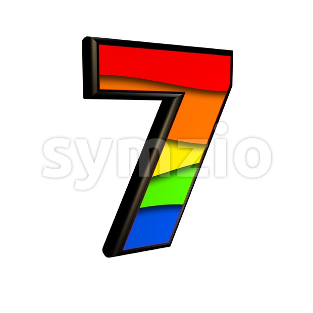 Rainbow number 7 - 3d digit Stock Photo