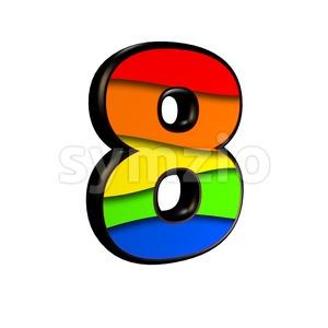 Rainbow digit 8 - 3d number Stock Photo