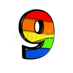 Rainbow number 9 - 3d digit Stock Photo