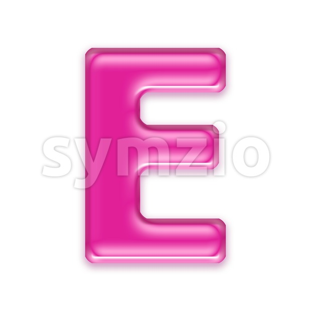 3d Capital character E covered in transparent pink texture Stock Photo