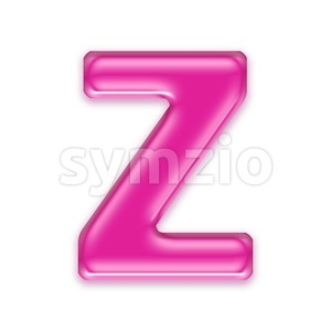 transparent pink letter Z - Upper-case 3d font Stock Photo