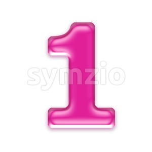 Pink jelly number 1 - 3d digit Stock Photo