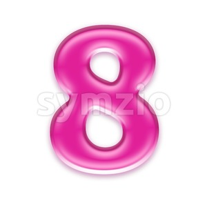 Pink jelly digit 8 - 3d number Stock Photo