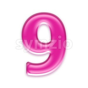 Pink jelly number 9 - 3d digit Stock Photo