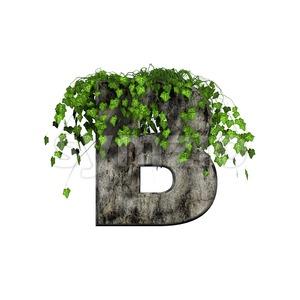 Capital ivy letter B - Upper-case 3d font Stock Photo
