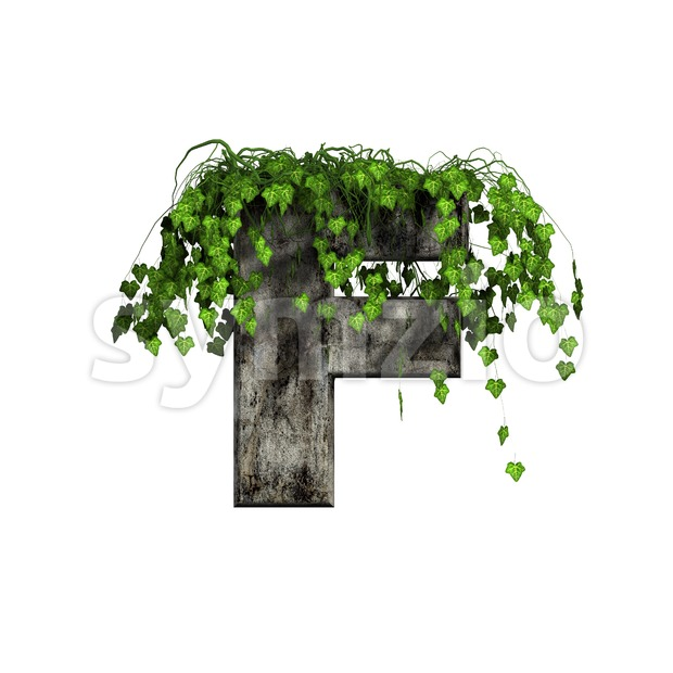 Ivy covered concrete letter F - Upper-case 3d font Stock Photo