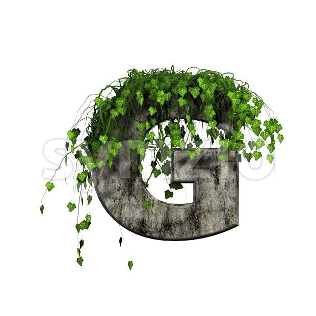 Upper-case concrete character G - Capital 3d font Stock Photo