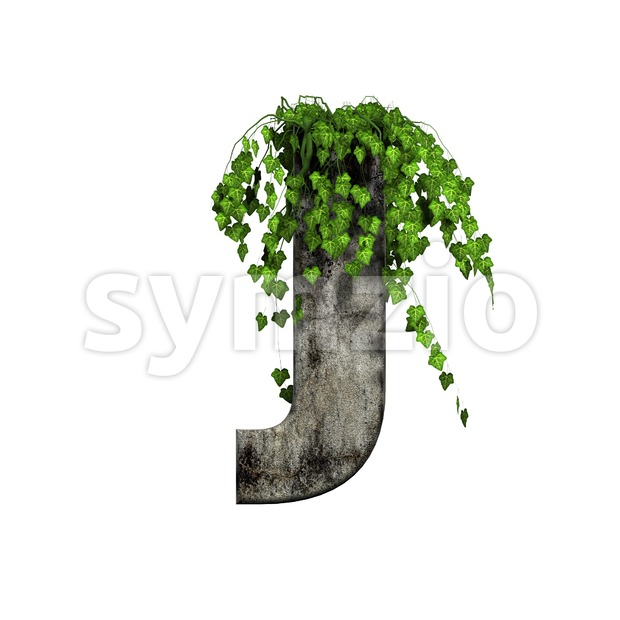 3d Uppercase font J covered in ivy - Capital 3d character Stock Photo