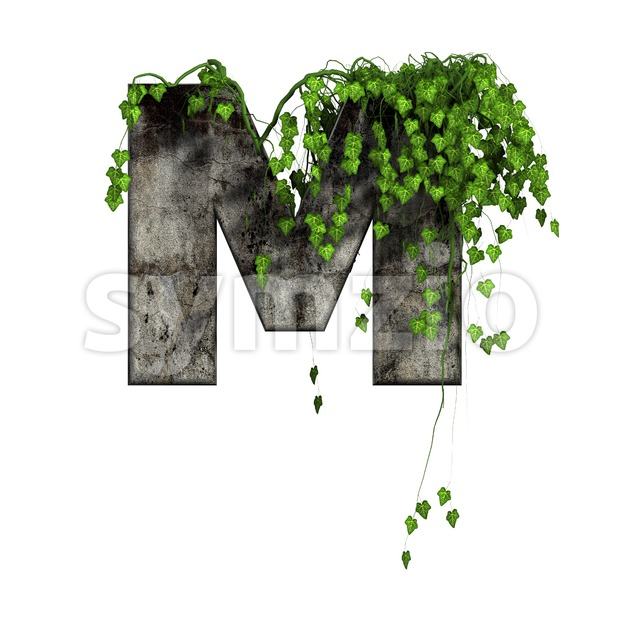 3d Capital character M covered in ivy - Upper-case 3d letter Stock Photo