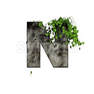 concrete font N with ivy - Capital 3d letter Stock Photo