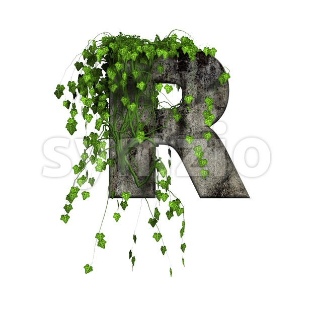Ivy covered stone letter R - Uppercase 3d font Stock Photo