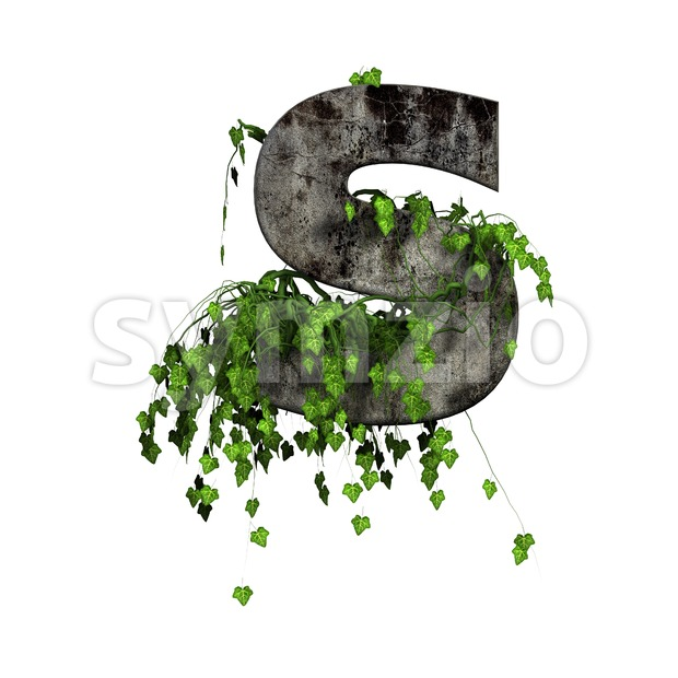 3d Uppercase font S covered in ivy - Capital 3d letter Stock Photo