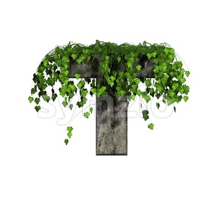 ivy covered character T - Uppercase 3d letter Stock Photo