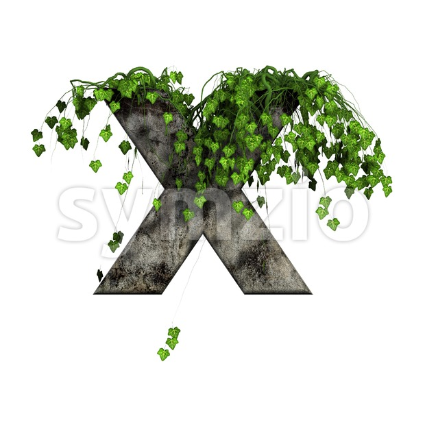 3d Upper-case character X covered with ivy - Capital 3d letter Stock Photo