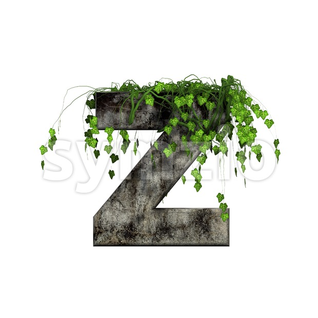 Ivy covered stone letter Z - Upper-case 3d font Stock Photo