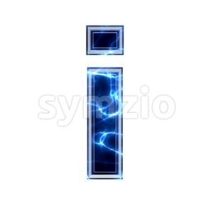 3d Small letter I covered in lightning texture Stock Photo