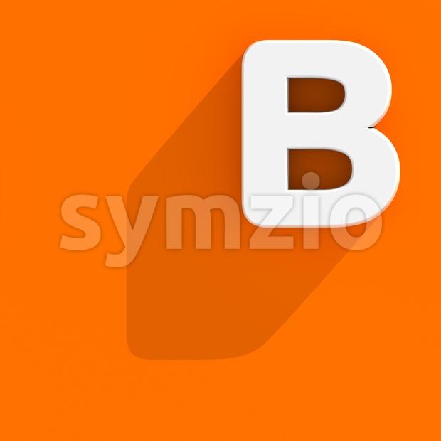 Capital flat letter B - Upper-case 3d font Stock Photo