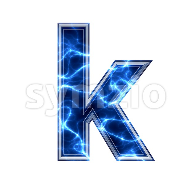 Lower-case Blue power character K - Small 3d letter Stock Photo