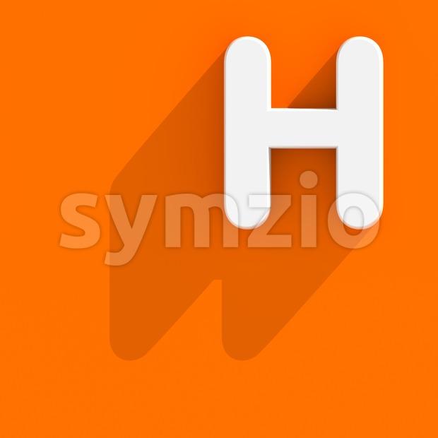 Flat design 3d letter H - Upper-case 3d character Stock Photo